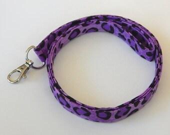 Leopard Print Lanyard / Purple Leopard Keychain / Animal Print / Key Lanyard / ID Badge Holder / Badge Lanyard / Fabric Lanyard