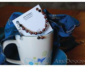 Row Counter Bracelet - Copper Pearl & Silver