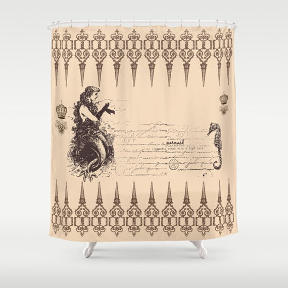 Items Similar To Mermaid Shower Curtain Vintage Look Mermaid And Seahorse Brown And Beige