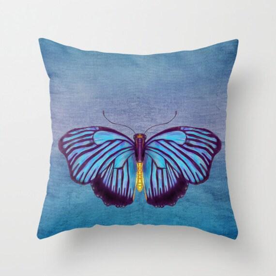 Items similar to Throw Pillow, Blue Butterfly, Artistic Illustration, indigo blue, fall decor ...