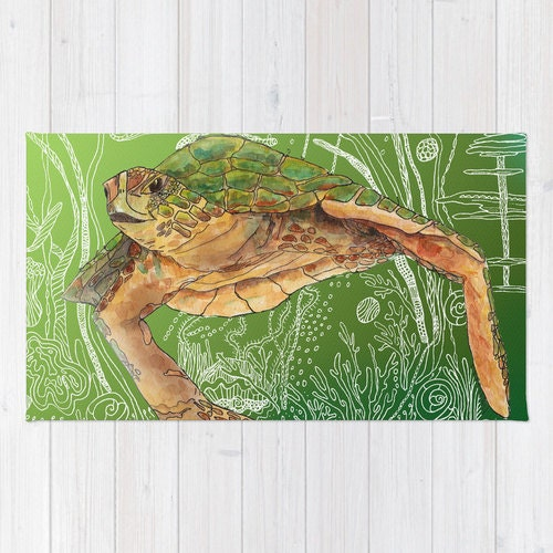 Sea Turtle Bath Mat Shelley Of The Green By ArtfullyFeathered