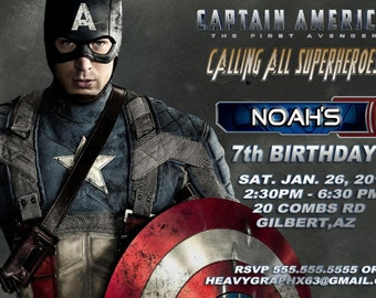 Captain America Party Invitation 14 prints with envelopes