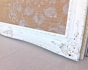 Framed cork board - pin board - bulletin board - antique white frame