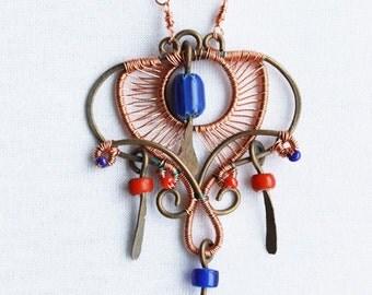 Bohemian Naturel Blue Gypsy Necklace, Long Necklace, Long Boho Jewelry Necklace, nature pendant