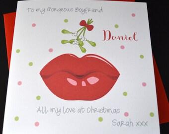 Handmade Personalised Customised Christmas Card Husband Boyfriend Partner One I Love