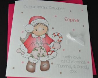 Handmade Personalised Girl Christmas Card to Daughter Granddaughter Sister Niece Friend