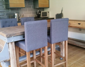 Rustic Breakfast bar dining table handmade with solid steel rails and hooks any size possible