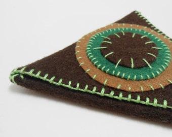 Brown felt triangle purse