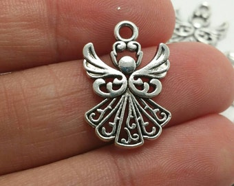 BULK 50 Angel Charms, Silver Angel Charms, Christmas Angel Charms, Bulk Charms (5-1002)