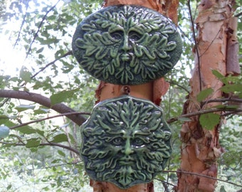 Greenman,Greenman Statue,Greenman Set,Green Man Wall Hanging,Nature Spirit Plaque,Tree Spirit Statue,Woodland Plaque, Hand Cast Stone