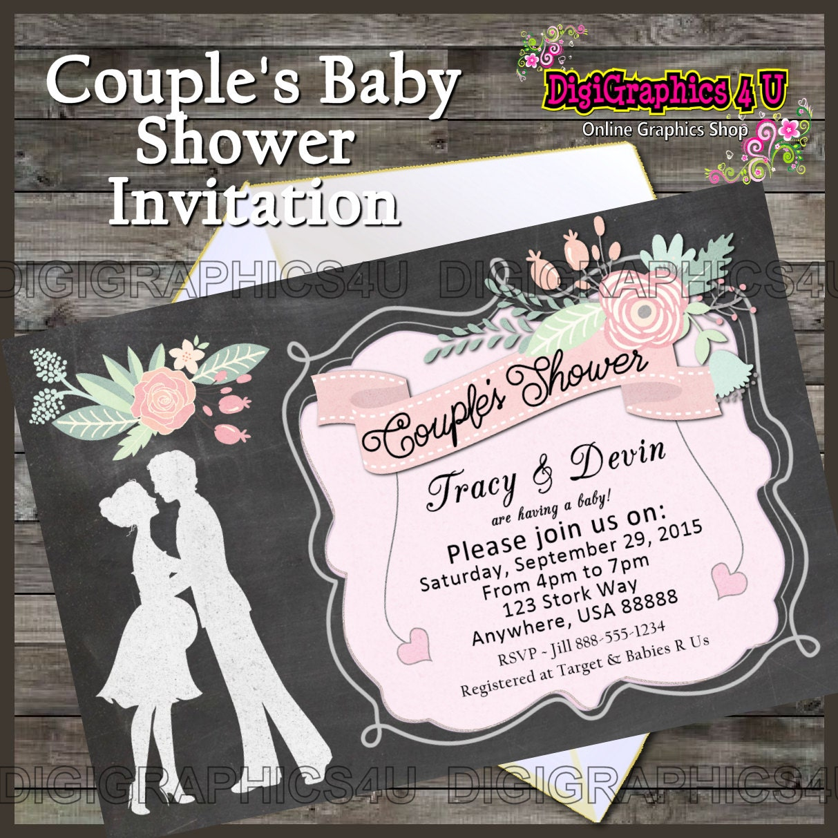 printable personalized couples baby shower by digigraphics4u