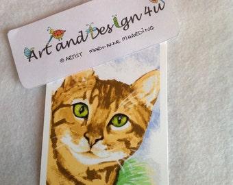 Bengal Cat Print,Exotic Cat Print,ATC Print,Mini Watercolor Cat Print, ACEO Cat Print, Cat Lovers Gift,