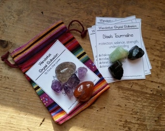 Wanderlust Healing Crystals & Stones Crystal Collection, Amethyst, Aquamarine, Black Tourmaline, Smoky Quartz, Raw Crystals, Gypsy, Travel