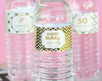 24 Personalized Metallic Foil Water Bottle Labels Birthday Party Waterproof Personalized Stickers Custom Monogram Lots of Designs & Colors!
