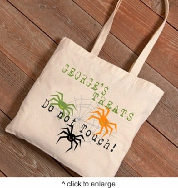 Personalized Halloween Trick or Treat Canvas Bag Spider Web Tote Custom Monogram Gift Child Children School Preschool Printed Candy Trunk