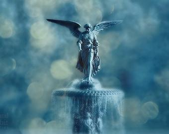 New York Print, Central Park Photos, NYC Art, Bethesda Fountain, Angel Print, Bedroom Decor, Bokeh, Blue Cream Wall Art