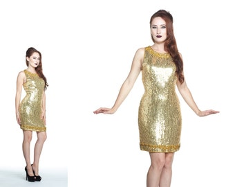 Vintage 1960s Gold Sequin Wiggle Dress with Beaded Trim Size S
