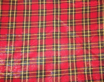 One Piece 2 yards and 25 inches of Red Black Shiny Metallic Checked Light Weight Holiday Fabric