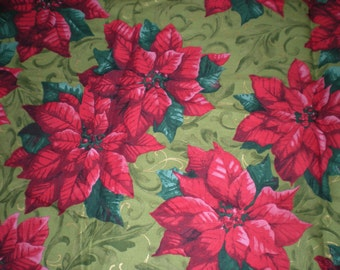 One Piece 2 yards & 1.5 inches of Poinsettias Christmas at Home by Becky Taunton for Newcastle Fabrics Pattern # M591