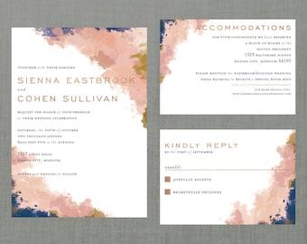 Whimsical Watercolor Splatter Wedding Suite // DIY PRINTABLE Invite + RSVP // Modern Wedding, Whimsical Wedding, Watercolor Wedding