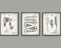 Hairdresser Patent Prints Set Of 3 - Beauty Technician Patent Wall Art Poster - Hairdresser Gift Idea - Hair Styling Equipment Patents