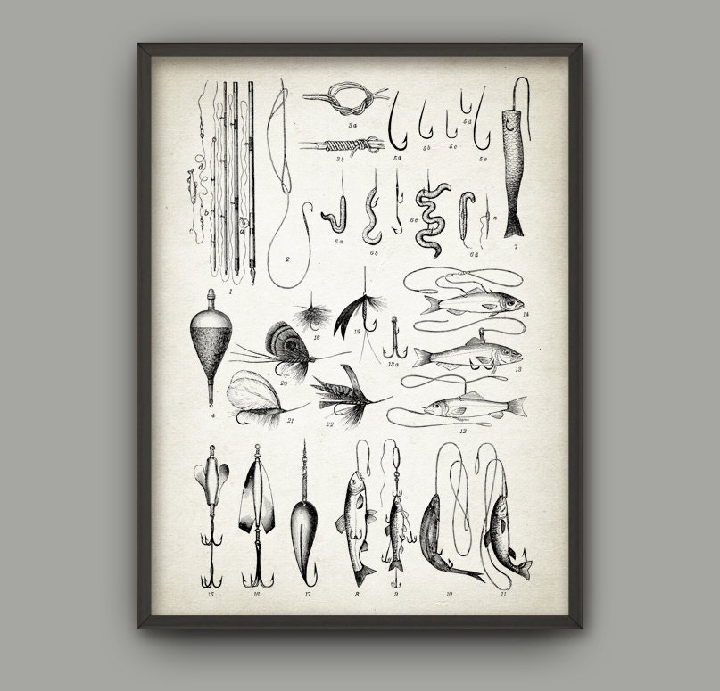 Fishing tackle print fishing equipment poster angler wall for Wall fishing tools