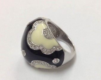 Black and White Inlay Silver Ring