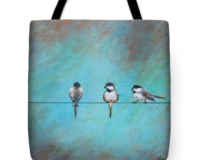 bird on a wire tote bag, artistic bird tote, printed bird bag, original painting by Nancy Quiaoit