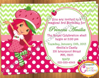 Strawberry Shortcake Invitation - Strawberry Shortcake Birthday Invitation - Strawberry Shortcake Invite - Printable Invitation