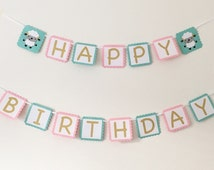 Lamb Happy Birthday Banner - Happy Birthday Banner - Mint and Pink Birthday Banner - Mary Had A Little Lamb Party - Birthday Party