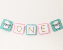 Lamb High Chair Banner - Mary Had A Little Lamb Party - High Chair Banner - Girl First Birthday Party - Mint and Pink Birthday Party