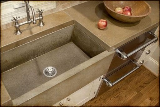 Concrete Kitchen Farm Apron Sink W Natural Gloss Finish