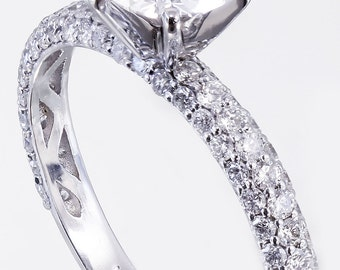 18k White Gold Round Cut Diamond Engagement Ring Prong Set Art Deco 1.85ctw