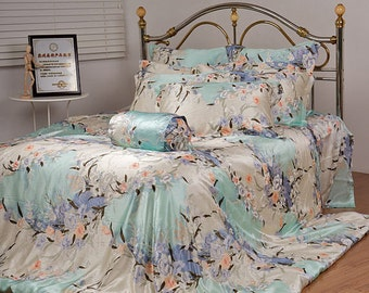 4PC 100% charmuse mulberry silk bedding  blue flowers set  Duvet  cover Flat sheet Pillowcase Twin Full Queen King Cal king