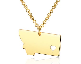 Montana Necklace - Montana Pendant - I heart State Necklace - State Charm - Map necklace