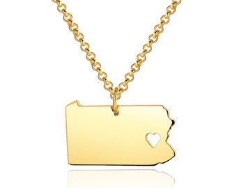 I heart pennsylvania Necklace - pennsylvania Pendant - State Necklace - State Charm - Map necklace