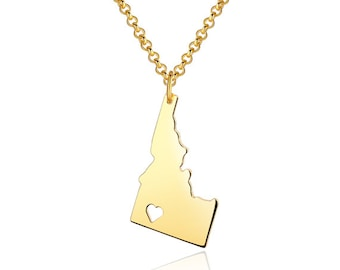 Idaho Necklace - Idaho Pendant - 18k gold plated State Necklace - State Charm - Map necklace