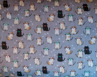 Cosmo Kitty Cats - Cotton Double Gauze Japanese Fabric -  - 1/2 Yard