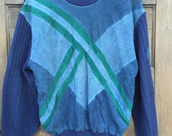 Vintage 80's Italian Blue Leather Pullover Sweater by Andrea Celli