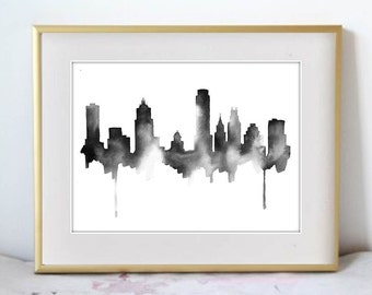 Austin Skyline Print, Watercolour Wall Art, Modern Minimalist Painting, Black and White, Large Poster, Watercolor, 8x10, 11x14