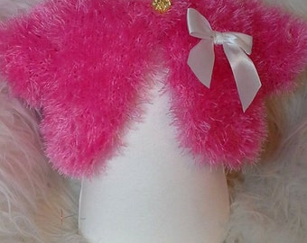 Baby Bolero Cardigan tinsel wool hand knitted 0-6mth Bright pink  new