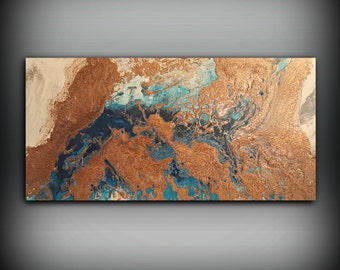 ORIGINAL Painting, Art Painting Acrylic Painting Abstract Painting, Blue and Copper Wall Hanging, Large Wall Art, Modern Wall Decor 24 x 48