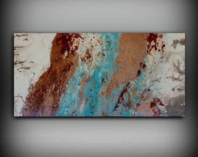 Copper Painting 24 x 48 Abstract Painting Acrylic Painting Abstract Wall Art Large Wall Art Canvas Copper Home Decor Wall Hanging Canvas