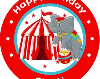 Circus Carnival Elephant Birthday Party Favors Personalized Stickers Many Sizes