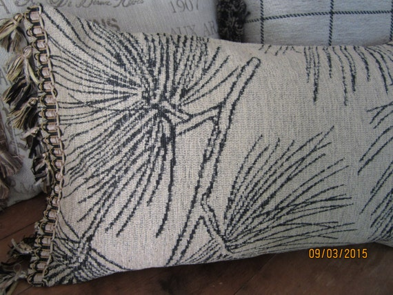 Reversible chenille decorator fabric throw pillows, 2 sizes, beige black brush fringe or tassel trim