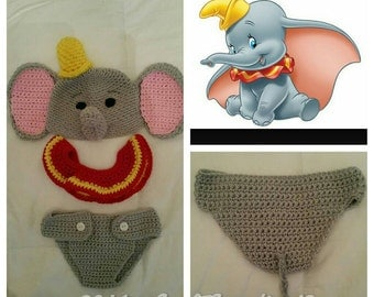 Dumbo inspired Baby Beanie and Collar Only