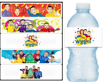 INSTANT DOWNLOAD - The Wiggles Birthday Party Water Bottle Labels Digital PDF File