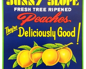 Sunny Slope Fresh Tree Ripened Peaches 1960's Vintage Advertising Poster Gaffney, S.C. #1