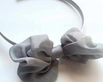 Gray Hair Bow Headband - Large Hair Bow Head Band for Girls - Silver Gray Satin Lined Headband -Puff Bow Head Band in Gray for Girls and Tee