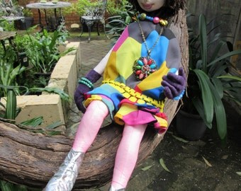 OOAk retro cloth art doll, She's a mod